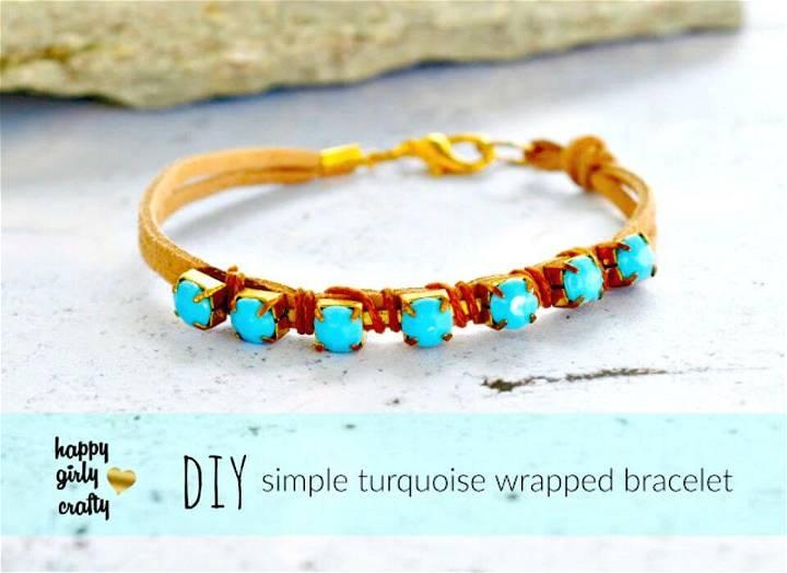 DIY Turquoise Rhinestone Wrapped Bracelet