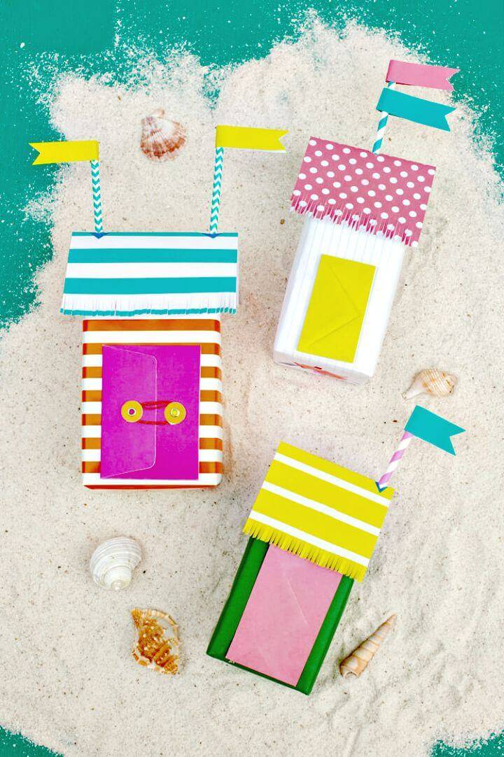 DIY Mini Beach Bungalow Gift Wrap for Summer Party Decorations