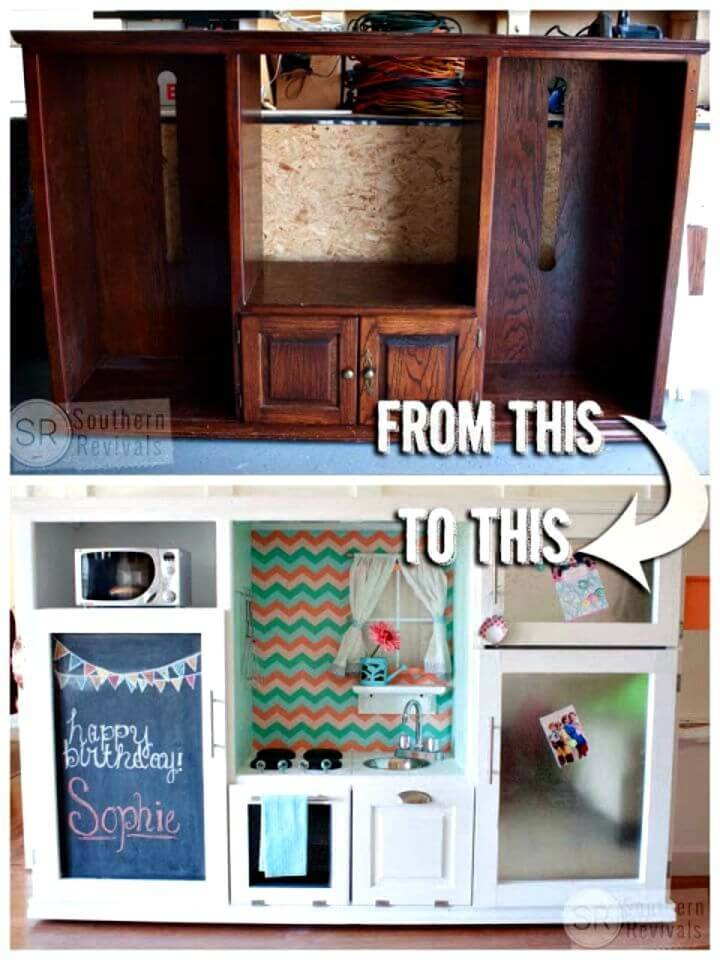 Turn Vintage Entertainment Center Into Play Kitchen