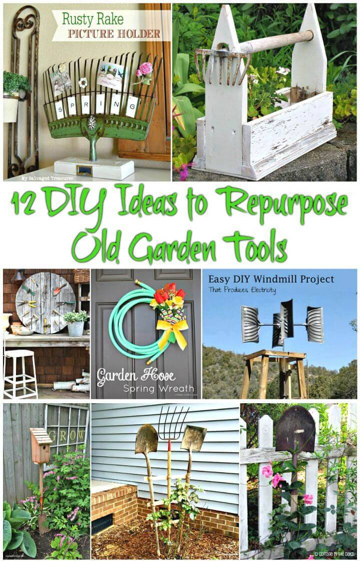 12 DIY Ideas to Repurpose Old Garden Tools- DIY Projects - DIY Home Decor Ideas - DIY Crafts - Easy Recycled Ideas