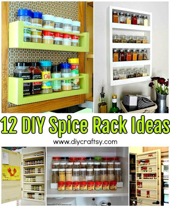 12 DIY Spice Rack Ideas - DIY Spice Rack Plans - DIY Spice Rack Shelf - DIY Spice Rack Organizer - DIY Projects - DIY Crafts
