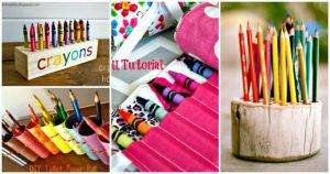 14 Wonderful DIY Crayon Holder Ideas, DIY Projects, DIY Crafts, Easy Crafts for Kids, DIY Wooden Crayon Holder, DIY Pencil Crayon Holder, DIY Fabric Crayon Holder