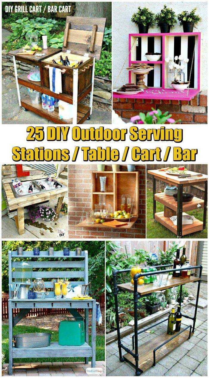 25 DIY Outdoor Serving Stations-Table-Cart-Bar - DIY Furniture Ideas - DIY Projects - DIY Crafts