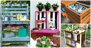 25 easy DIY Outdoor Serving Stations-Table-Cart-Bar - DIY Furniture Ideas - DIY Projects - DIY Crafts