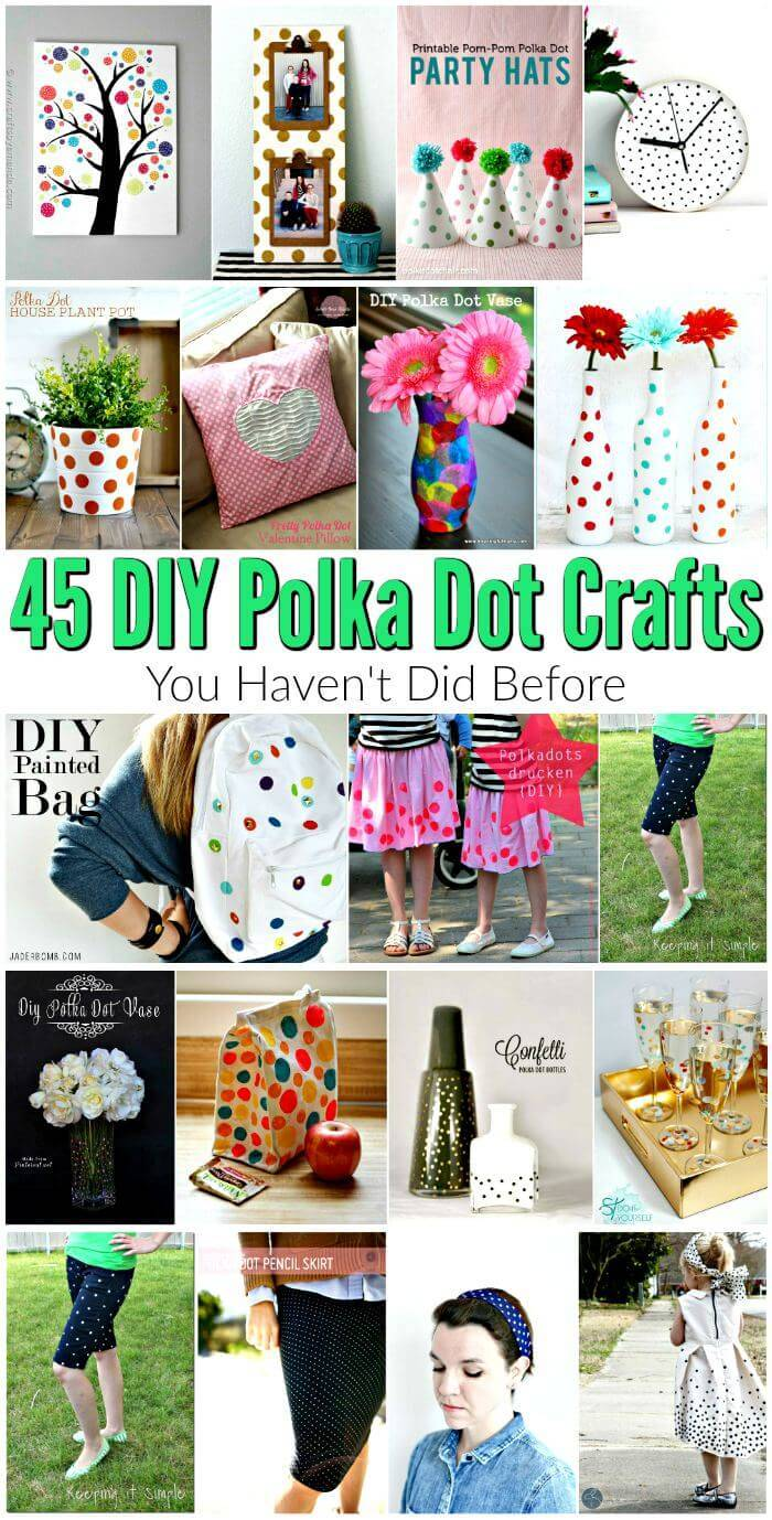 45 DIY Polka Dot Crafts You Haven't did Before - DIY Crafts - DIY Projects - Polka dot dress - Polka dot jean, Polka dot shirt, Polka dot home decor ideas