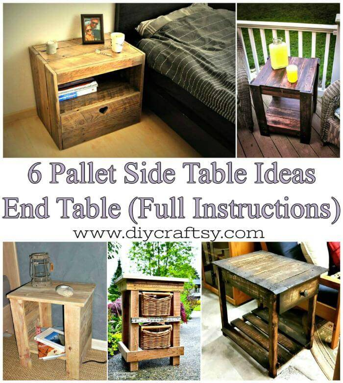 6 Pallet Side Table Ideas or Pallet End Table Ideas ( Full Instructions ) - Easy Pallet Ideas and Pallet Furniture Projects