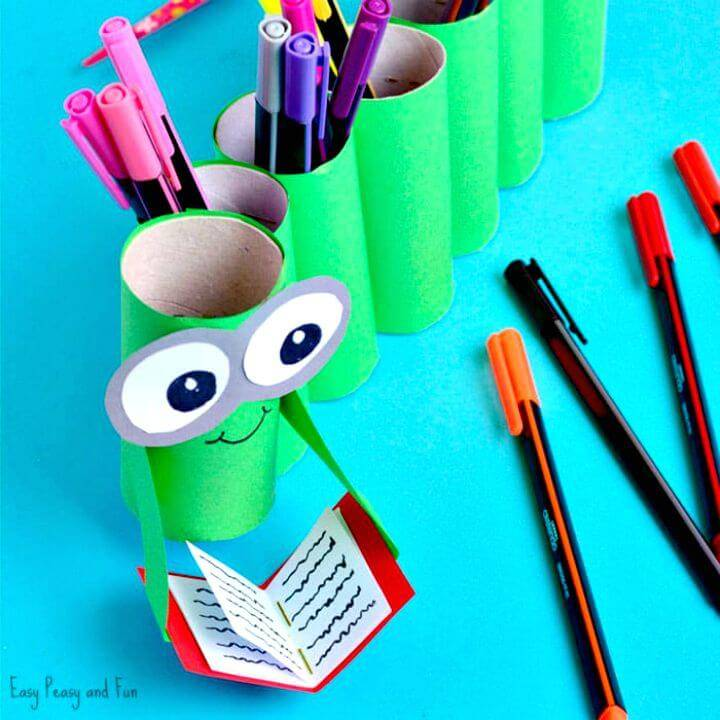 How to Make Bookworm Paper Roll Pencil Holder