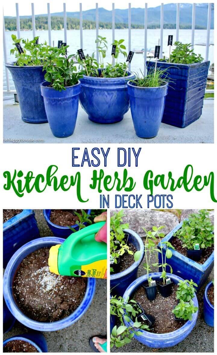Build Kitchen Herb Garden In Deck Pots - DIY