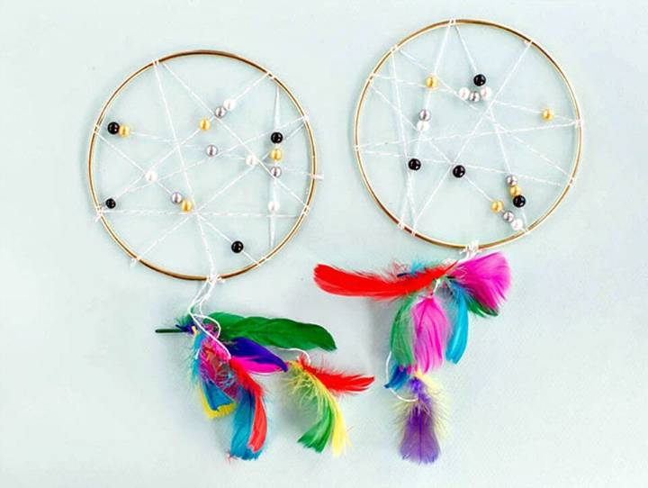 Colorful DIY Feather Dream-catcher: