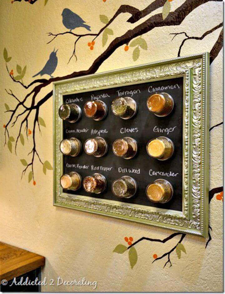 DIY Framed Magnetic Chalkboard Spice Rack