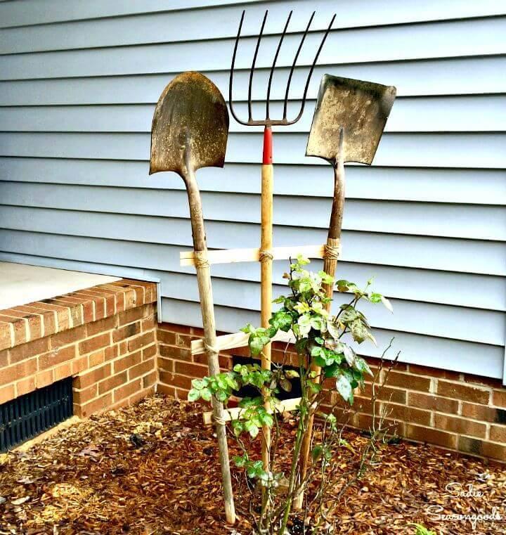 DIY Garden Trellis from Vintage Yard Tools