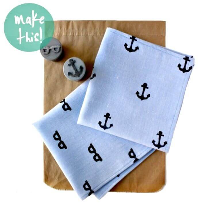 DIY Hand Stamped Handkerchief