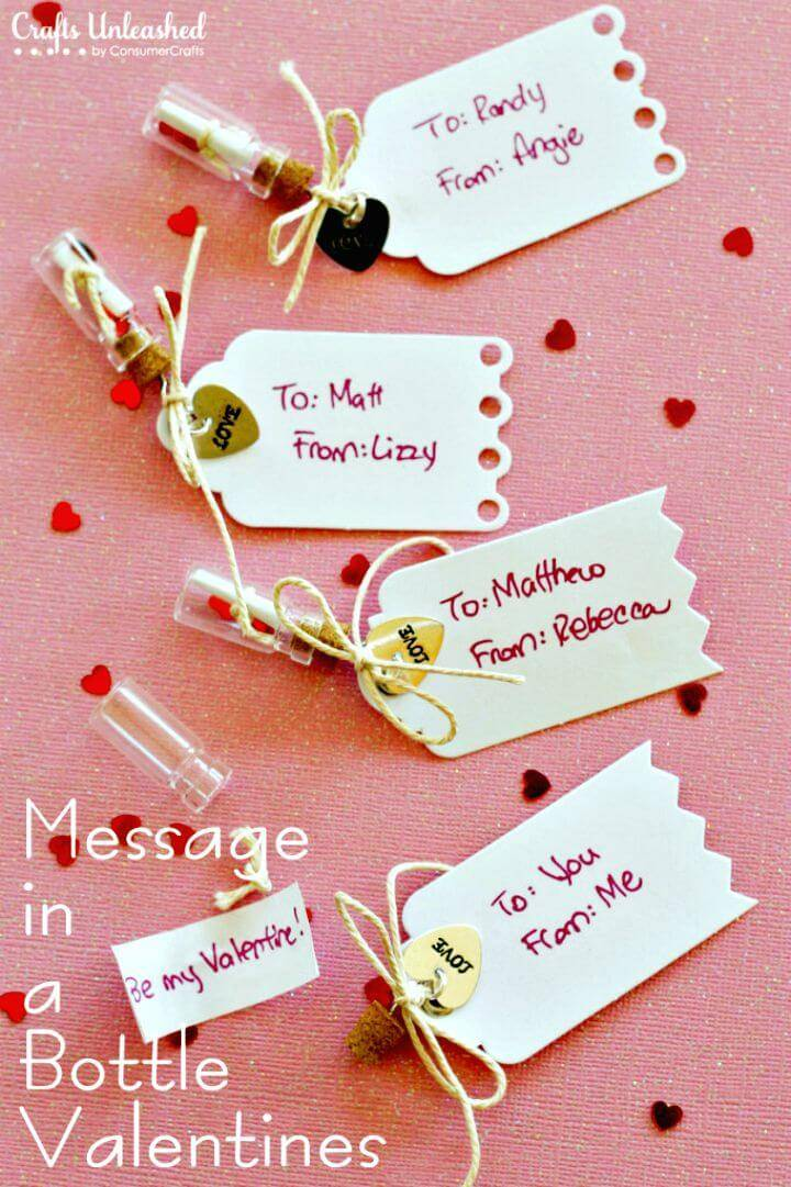 DIY Handmade Message in a Bottle Valentines