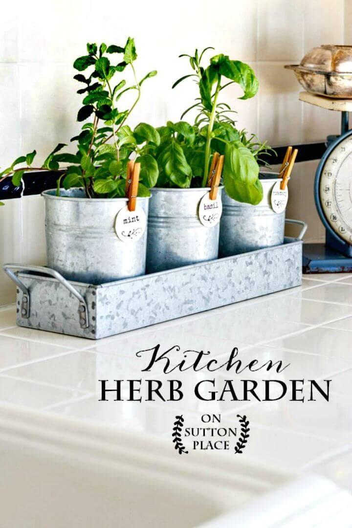 DIY Kitchen Herb Garden - Farmhouse Style