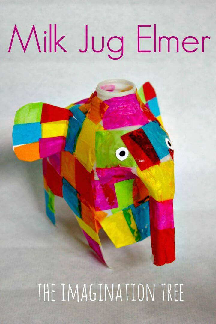 Colorful DIY Milk Jug Elmer Elephant Craft