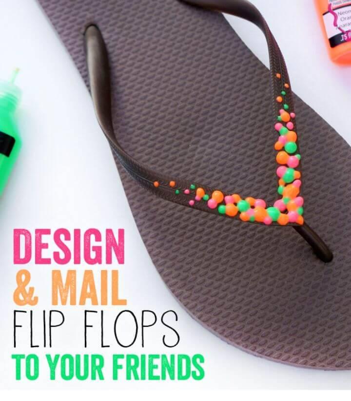 Colorful DIY Neon Flip Flops