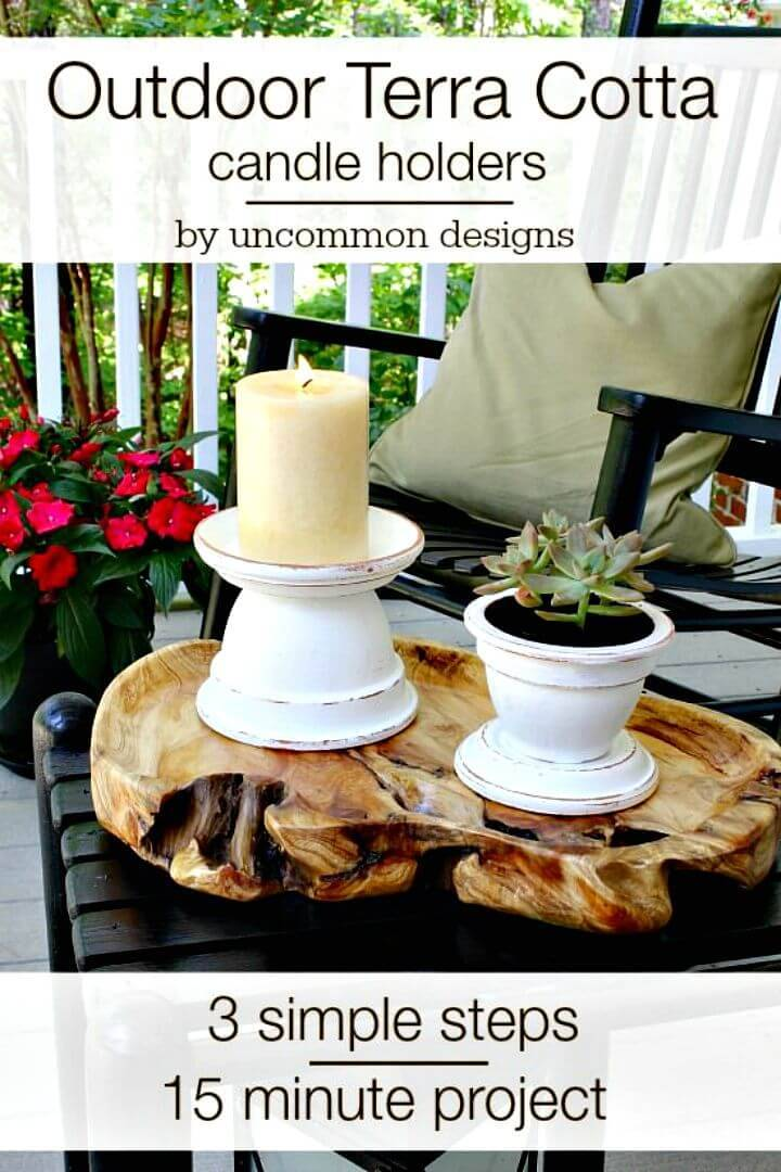 Adorable DIY Outdoor Terra Cotta Candle Holders