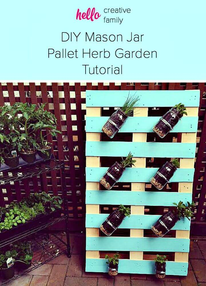 How to Make Pallet Mason Jar Herb Garden - DIY