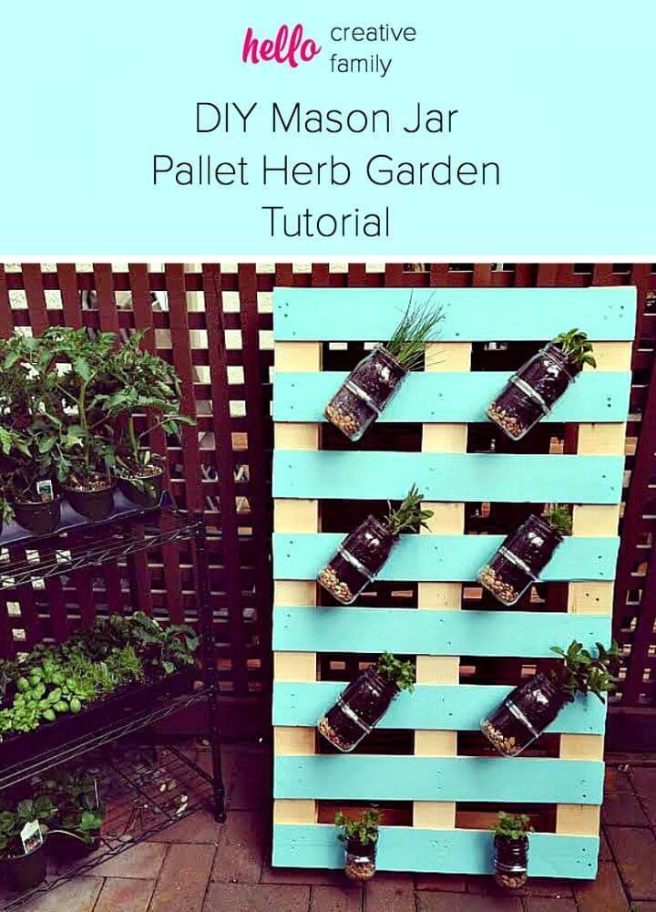 How to Make Pallet Mason Jar Herb Garden - DIY