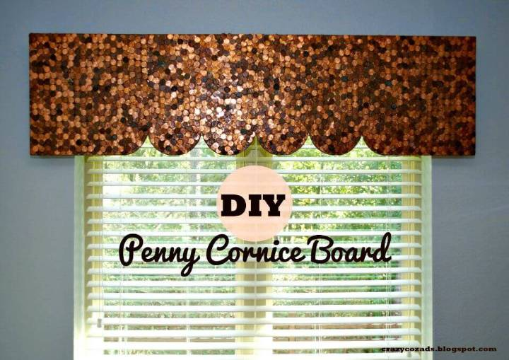 Adorable DIY Penny Cornice Board Window Treatment