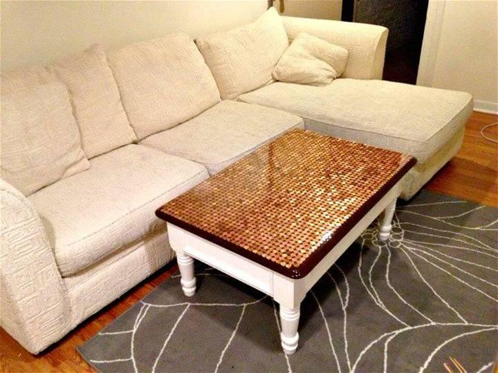 Adorable DIY Penny Top Coffee Table