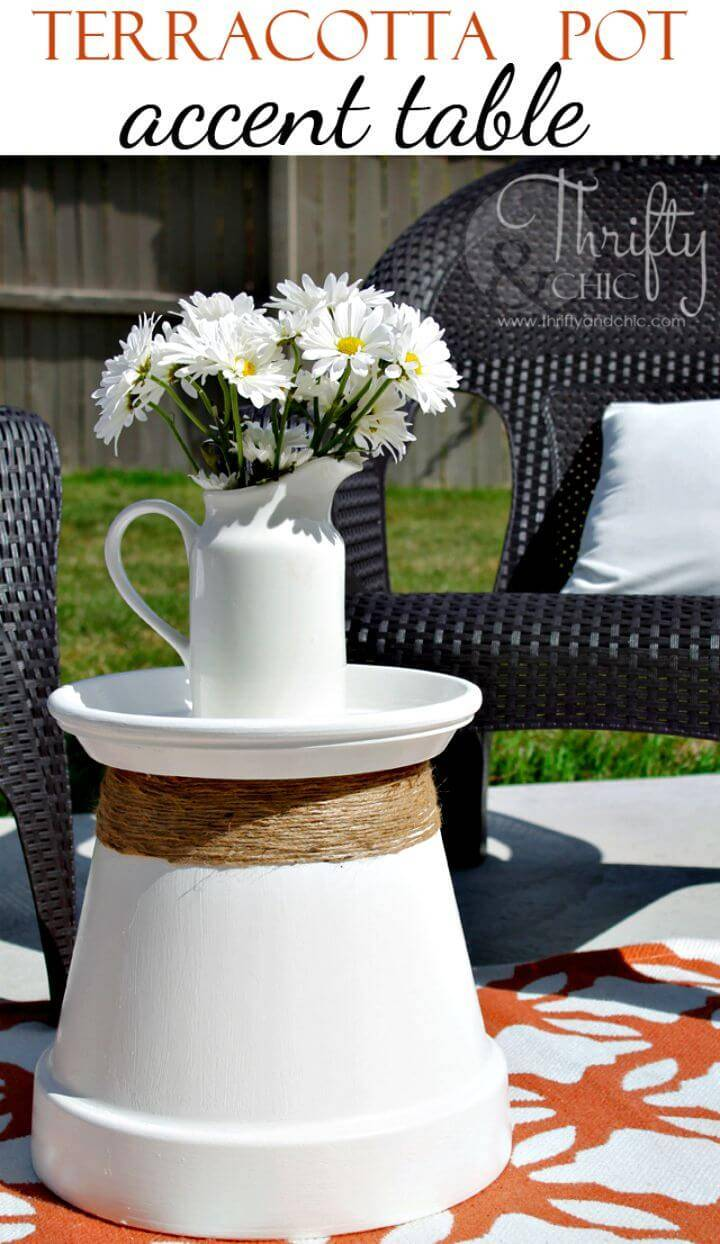 How to Make Terracotta Pot Repurposed Into Accent Table