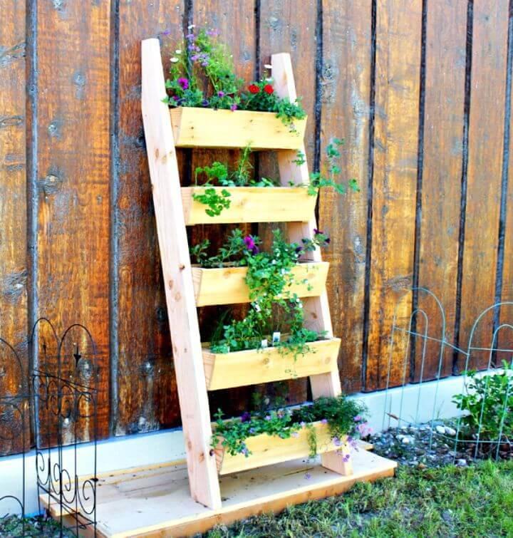 DIY Wooden Herb Ladder Garden Planter