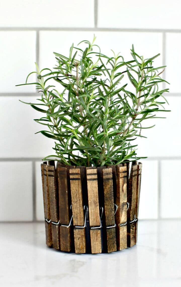 Easy DIY Clothespin Herb Planters