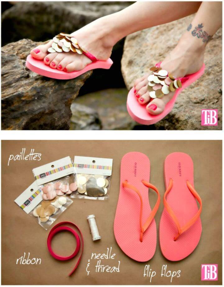 DIY Flip Flops With Paillettes