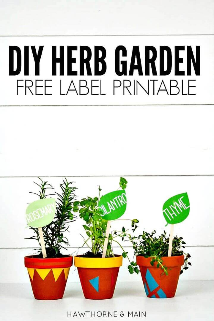 Easy DIY Herb Garden With Free Label Printable