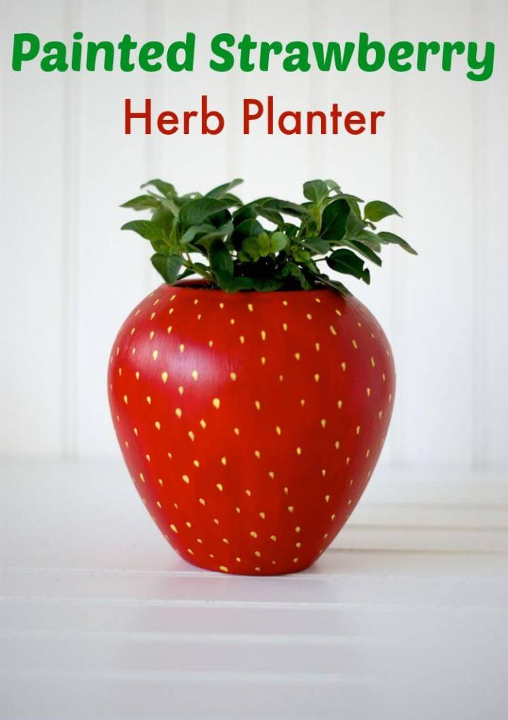 Easy DIY Painted Strawberry Herb Planter