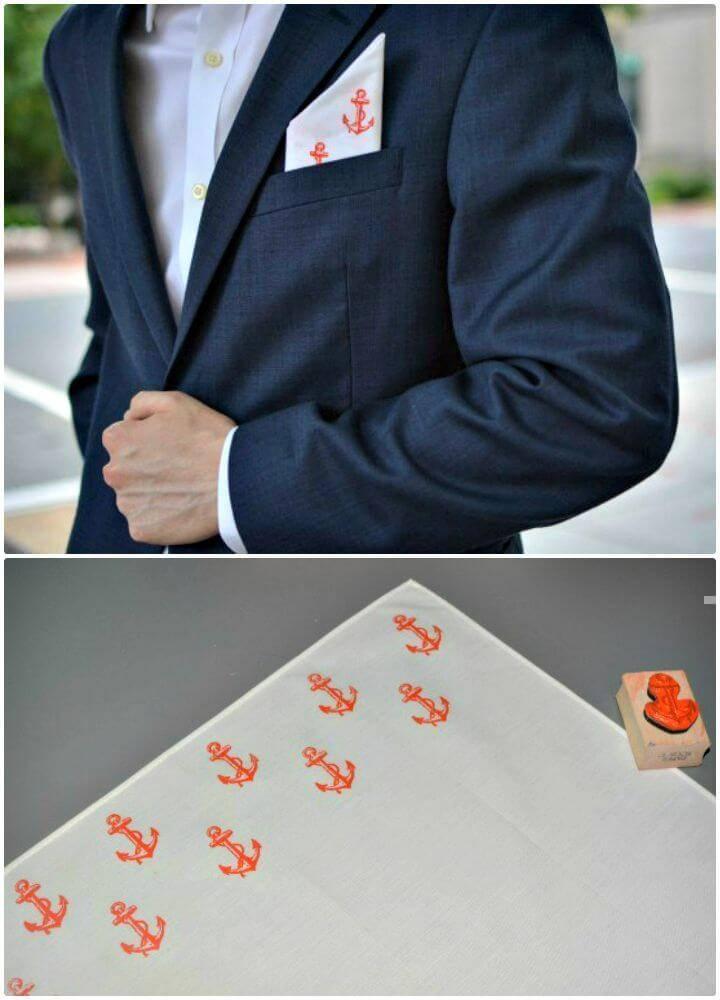 Easy DIY Stamped Pocket Square