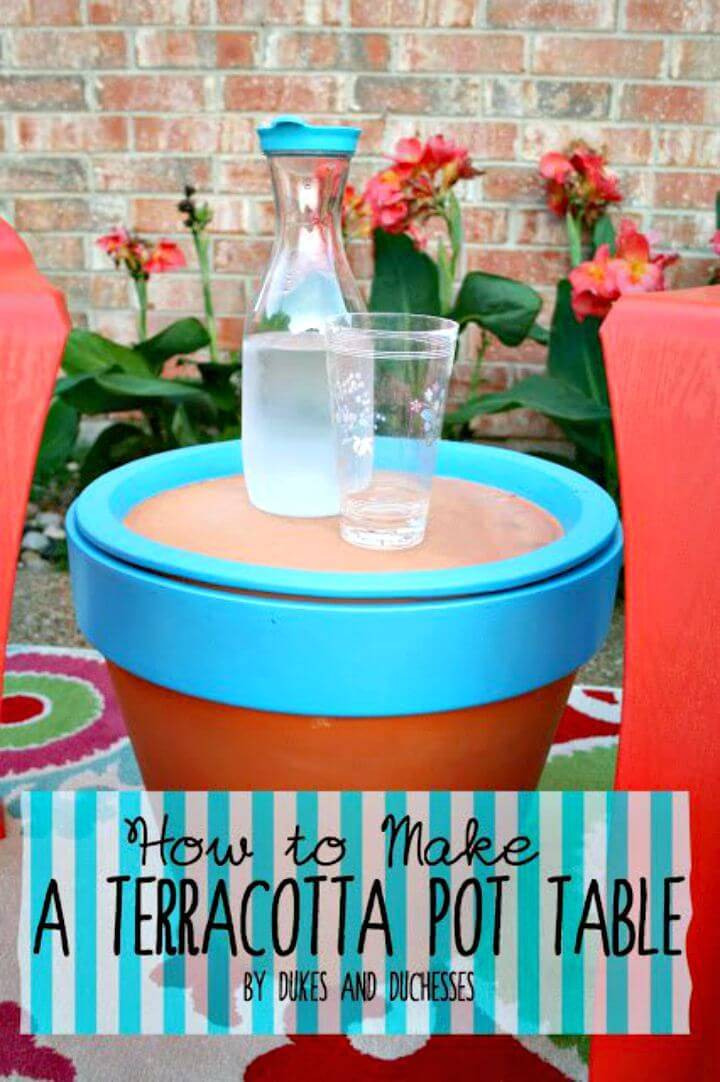 Adorable DIY terra cotta Pot Table