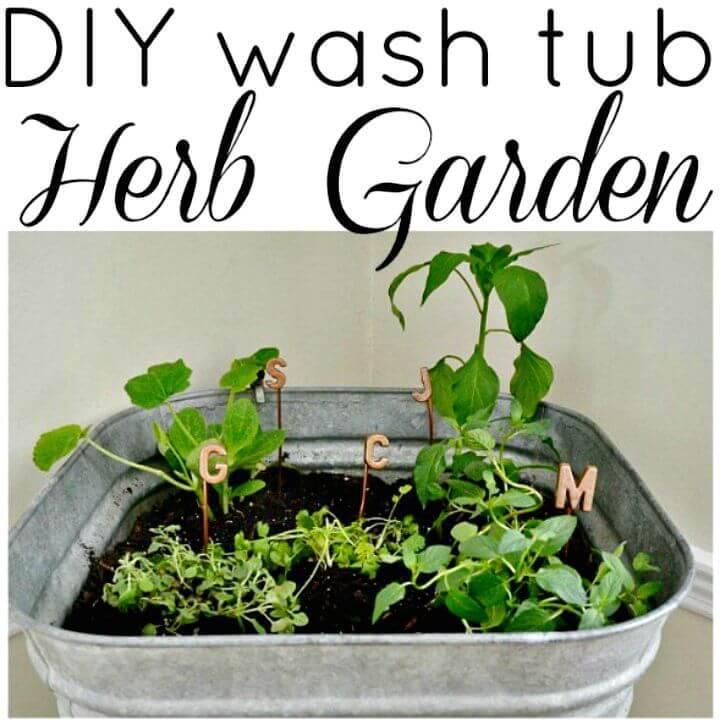 DIY Wash Tub Herb Garden