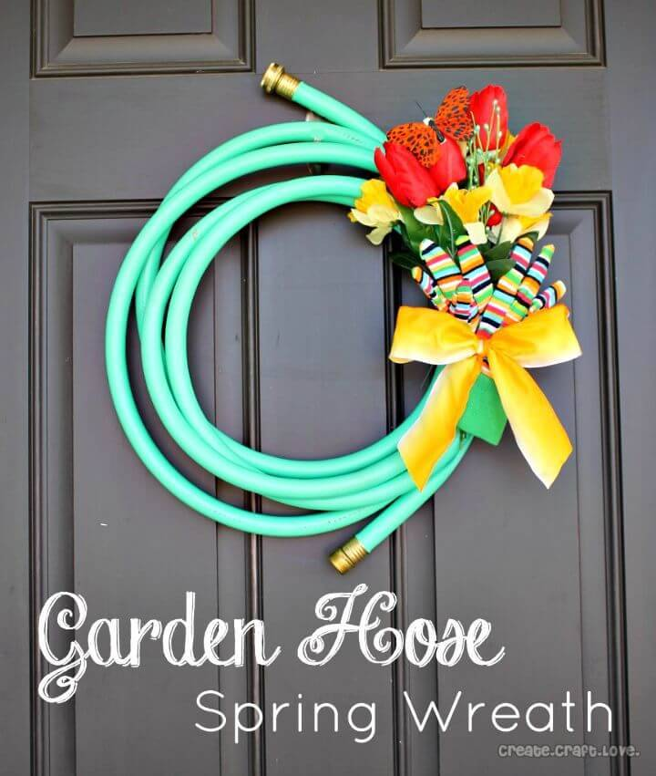 Gorgeous DIY Garden Hose Spring Wreath