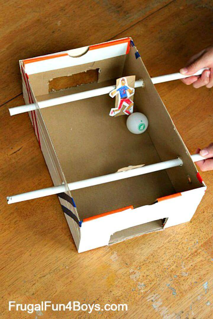 DIY Shoebox Foosball Game for Kids