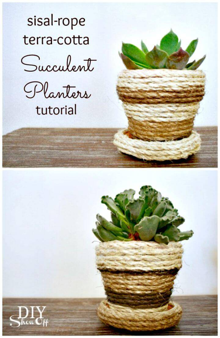 How To Make Sisal Rope Planters - DIY