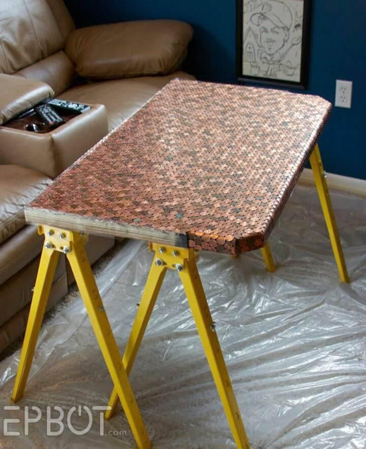 DIY Tiled Penny Desk