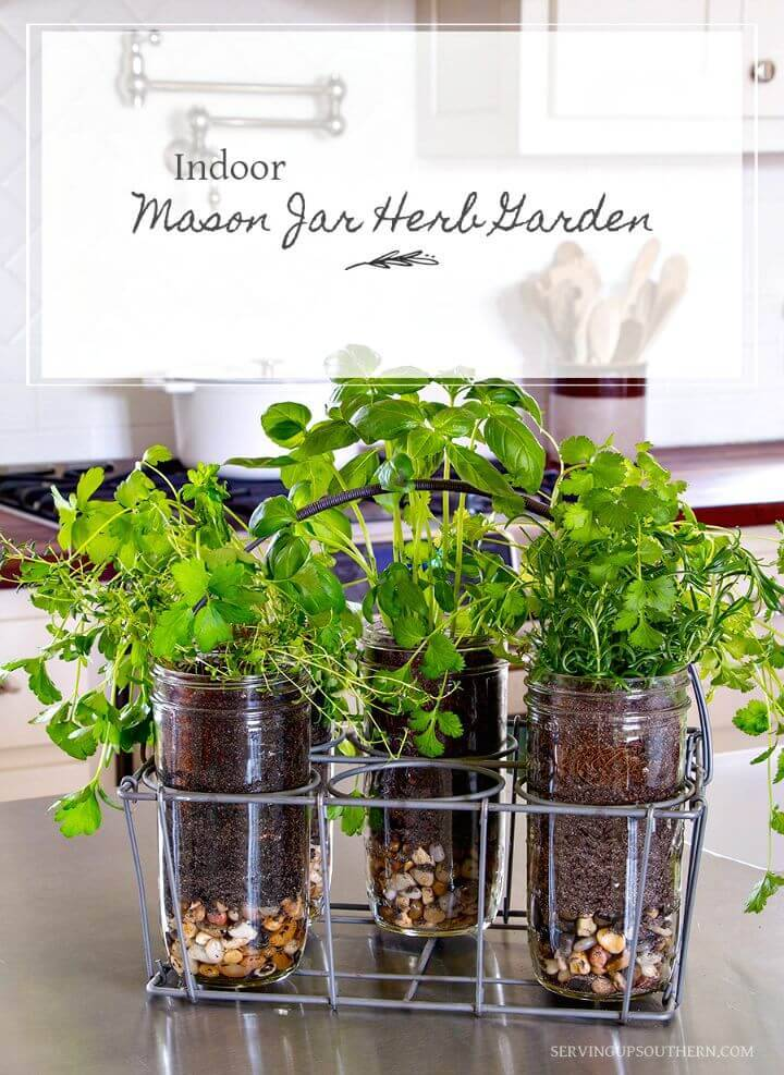 DIY Indoor Mason Jar Herb Garden