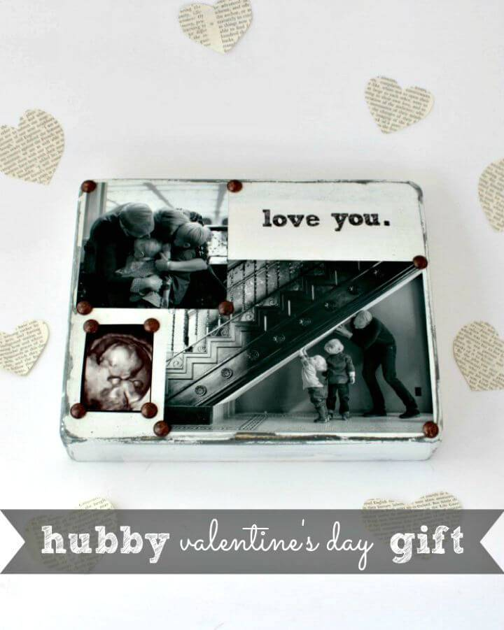Simple DIY Distressed Photo Block Gift
