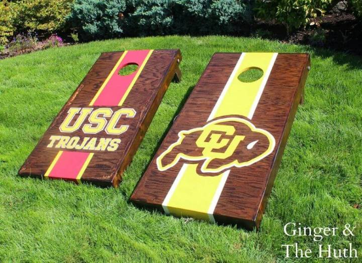 Adorable DIY Recessed Cornhole Boards