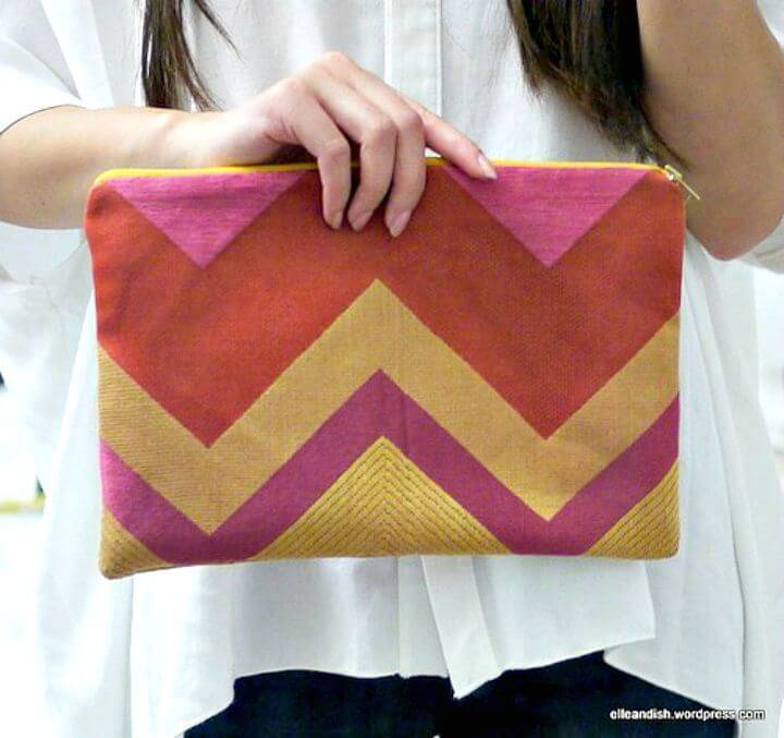 Make Pink Chevron Zipper Clutch - DIY Craft with Chevron Pattern