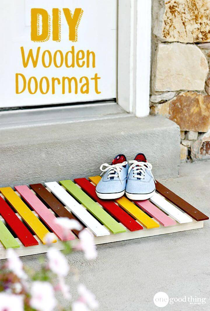 Easy DIY Colorful Wooden Doormat - Free Tutorial