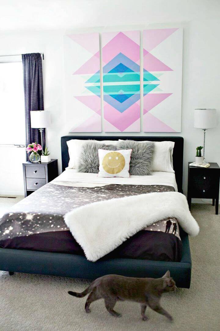 Create Geometric Art Headboard Panels - DIY Wall Art Ideas