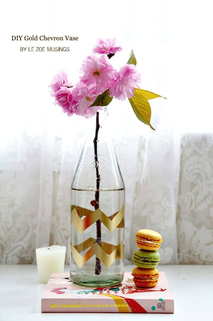 How to make Gold Chevron Vase -  DIY Craft with Chevron Pattern