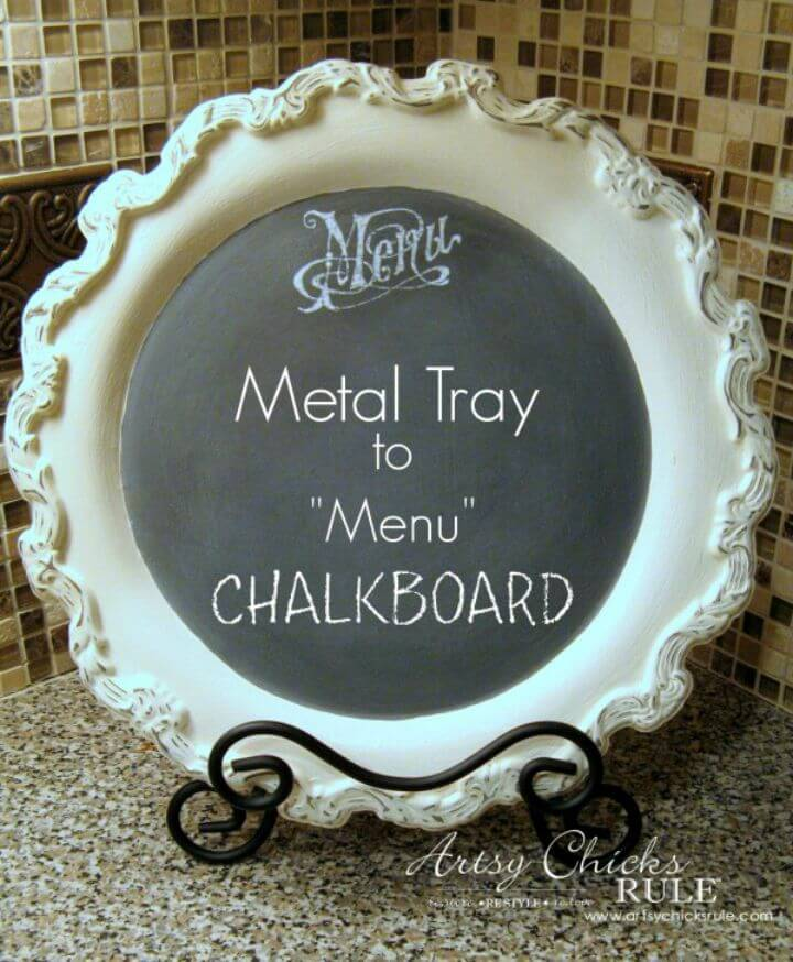 Creating a Chalkboard Out Of an Old Metal Tray
