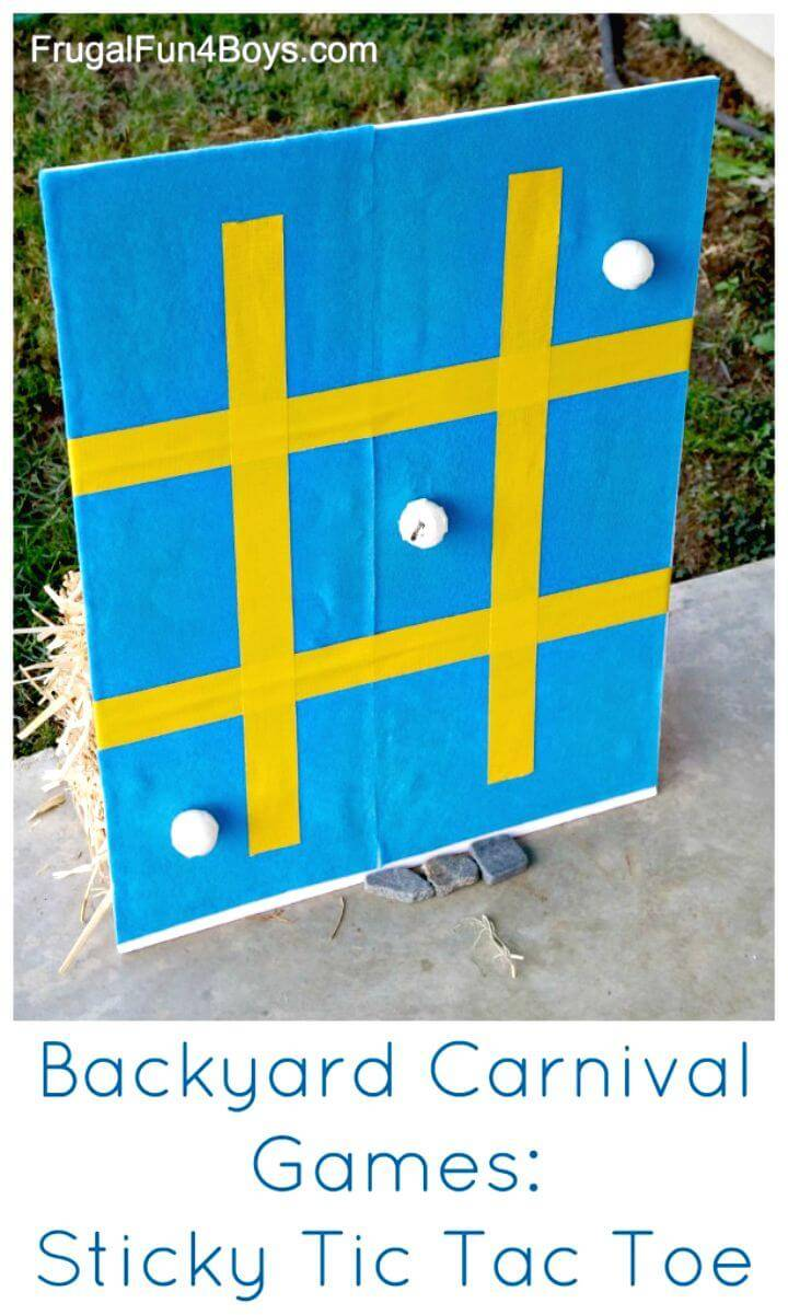 DIY Backyard Carnival Sticky Tic Tac Toe for All in Your Family