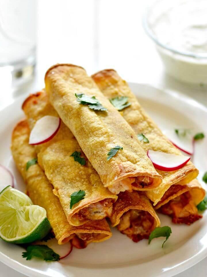 Delicious DIY Baked Chicken, Bean & Cheese Taquitos