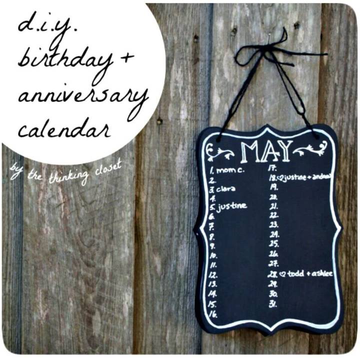 Easy DIY Birthday & Anniversary Calendar