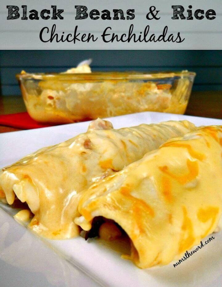 Black Beans & Rice Chicken Enchiladas Recipe - DIY